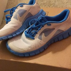 Grey and blue nikes